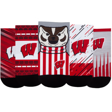 Wisconsin Badgers - Super Fan 5 Pack - Low Cut