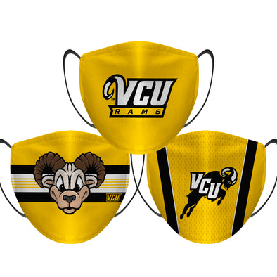 VCU Rams - Face Mask - 3 Pack