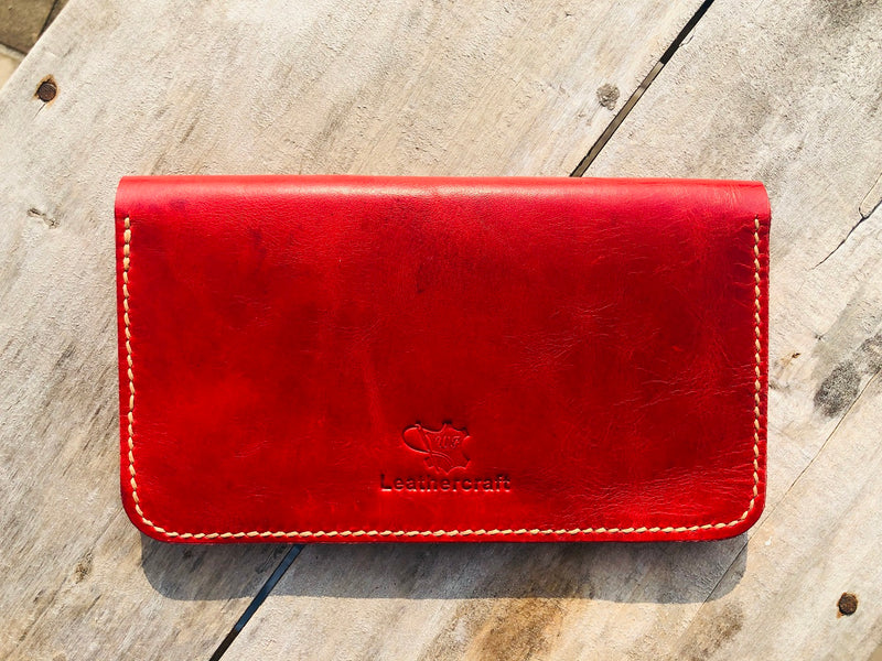 No. 51 Women's Leather Clutch Wallet Red
