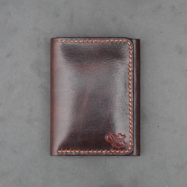 vertical hand made leather wallet