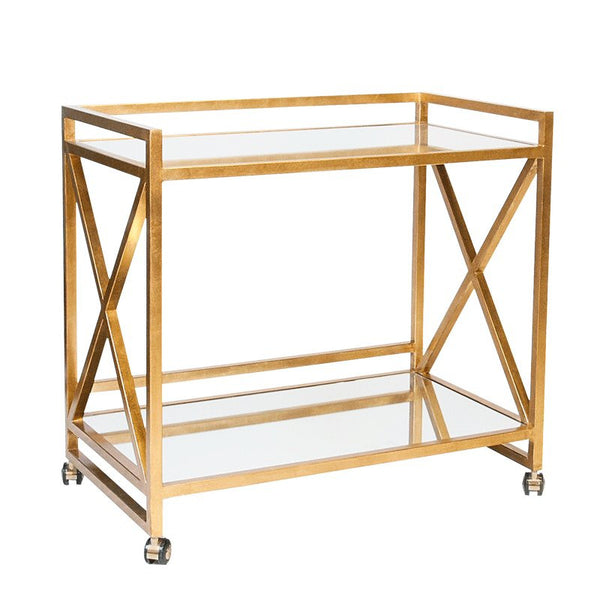 Worlds Away Gerard Gold Bar Cart