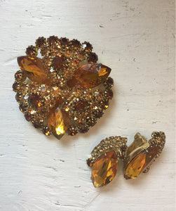 Sienna 1950s Brooch and Earrings