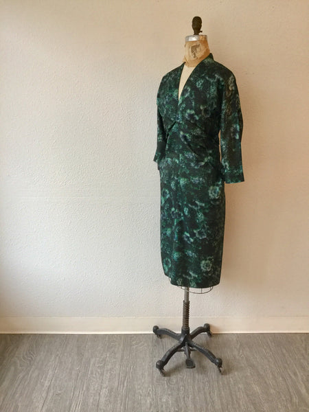 Green Envy 1950s Floral Dress | Large