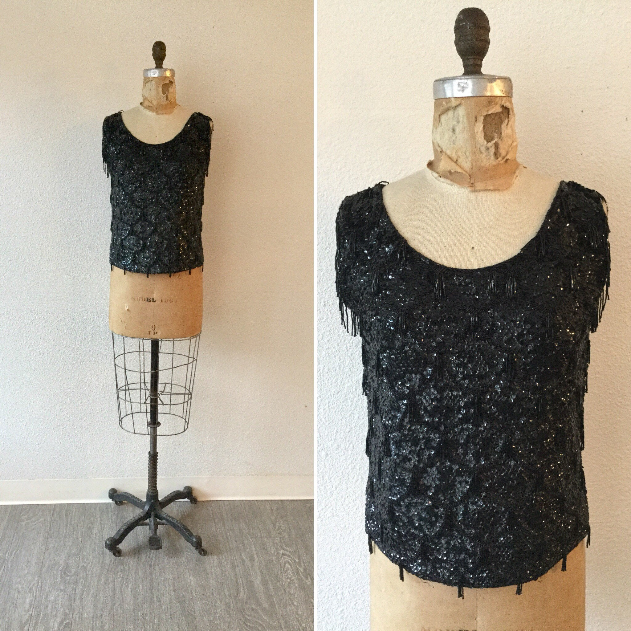 Noir 1950s Beaded Top | Small/Medium