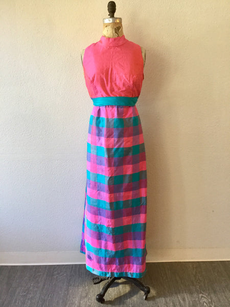 Madras 1960s Maxi Dress | XLarge