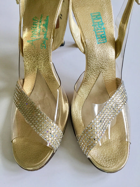 Gold 1980s Rhinestone Shoes | US 9