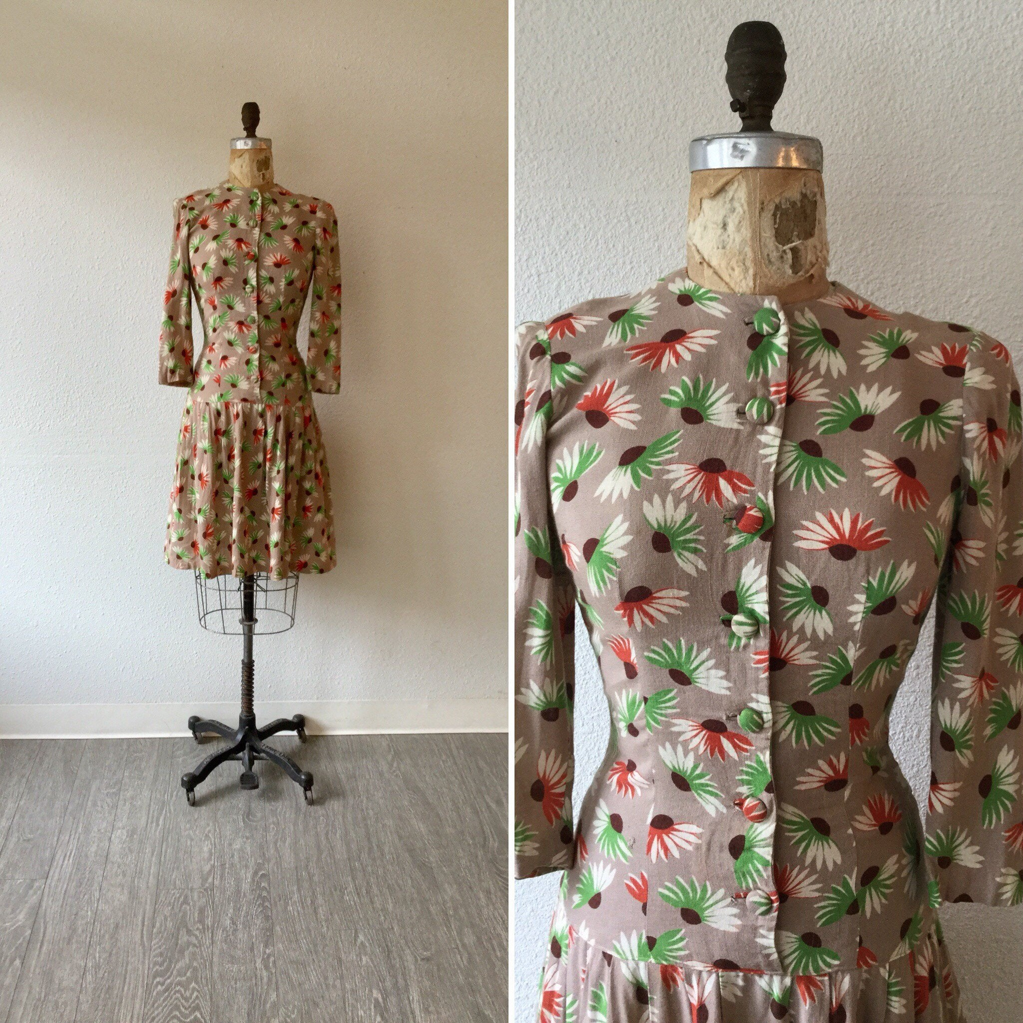 Echinacea 1930s Floral Dress | XSmall