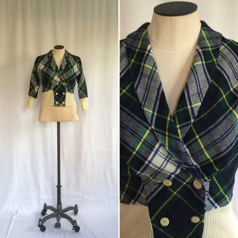 Edinburgh 1950s Tartan Cardigan | Small