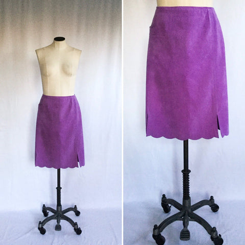 Violet 1980s Suede Skirt | Large