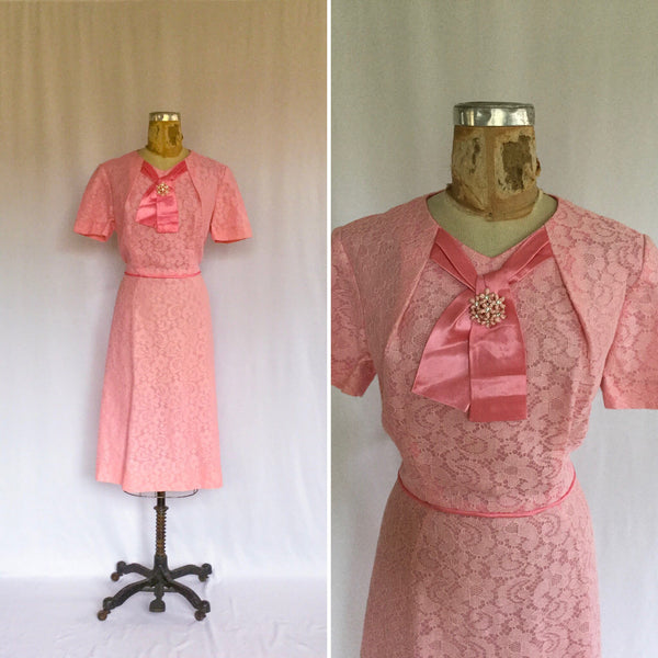 Penelope 1950s Lace Dress | Large