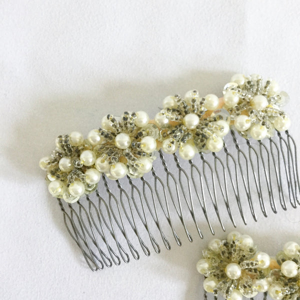 Catalina Beaded Floral Hair Combs