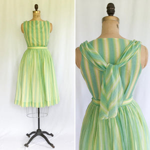 Ardee 1950s Striped Two Piece Dress Set | Small