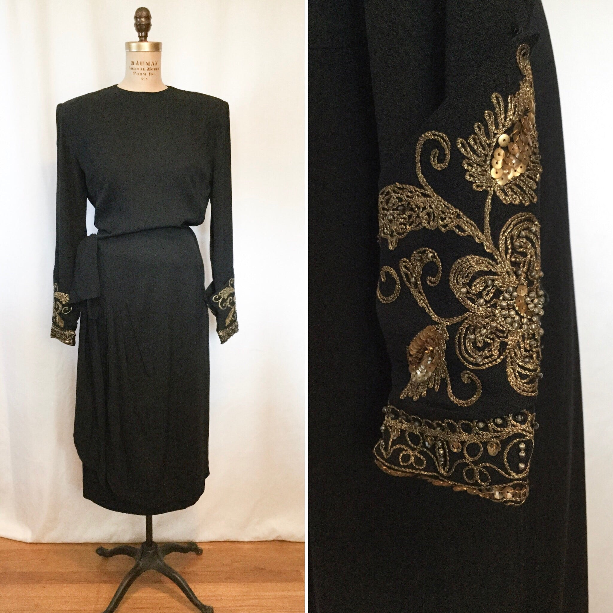 Janet Taylor 1940s Rayon Dress | Small