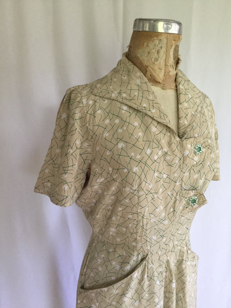 Cotton Tail 1940s Shirtwaist Dress | Small