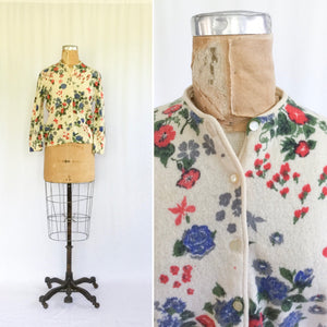 Morning Glory 1950s Floral Cardigan | Small