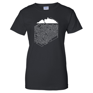 Mountain Cube Castle Maze Ladies T Shirt