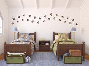 Set of 25 Medium Paw Print Children's Bedroom Wall Decals