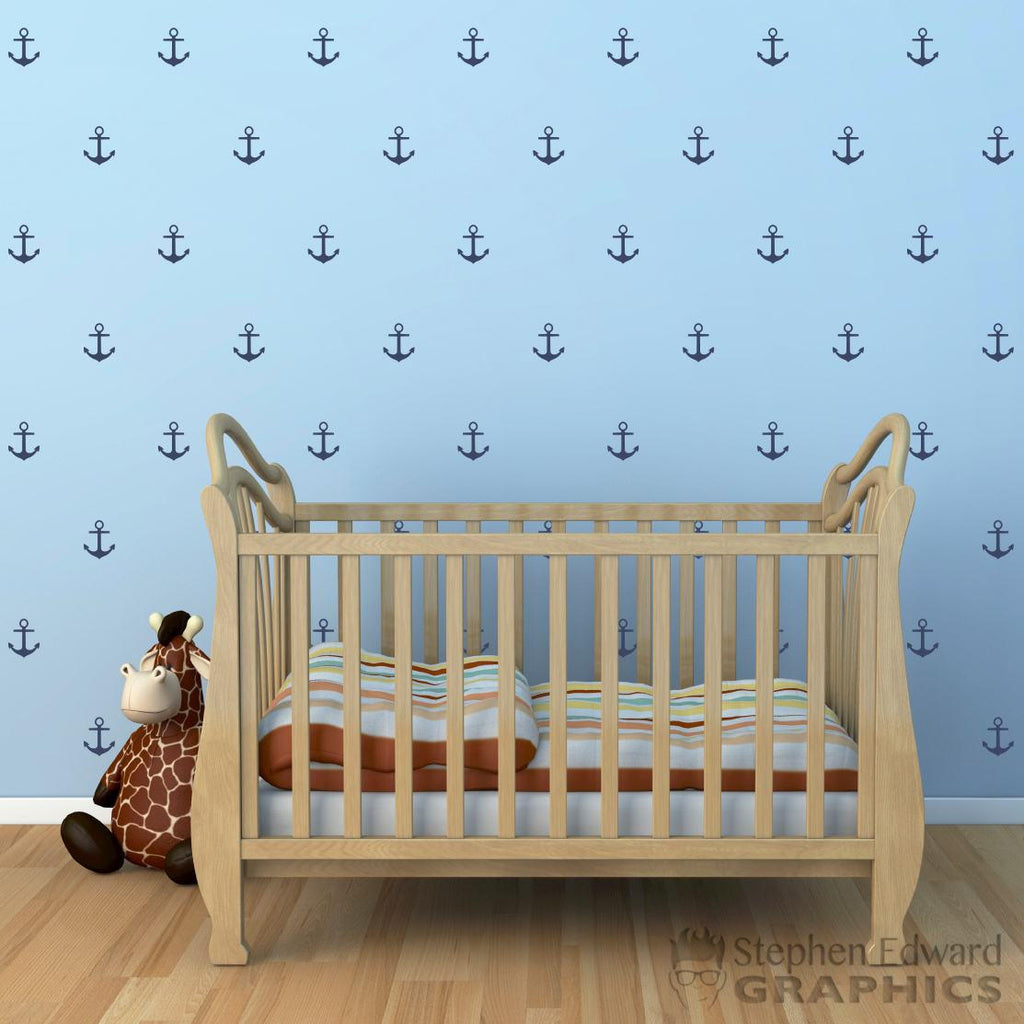 Wall decals kids stephen edward graphics anchor wall decal set set of 104 nautical pattern wall art anchor stickers amipublicfo Image collections