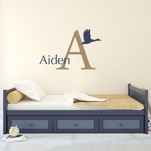 Duck Initial and Personalized Name Large Hunting Wall Decal