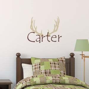 Antlers Initial and Personalized Name Hunting Wall Decal Set
