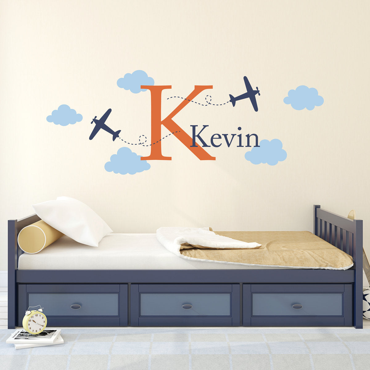 Airplane Wall Decal With Initial And Name Personalized Boy Name