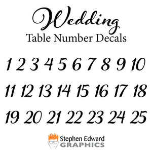Number Chart for Wedding Number Decals