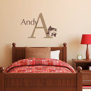 Fish Initial and Personalized Name Medium Wall Decal Set