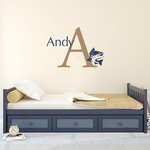 Bass Initial and Personalized Name Large Wall Decal Set