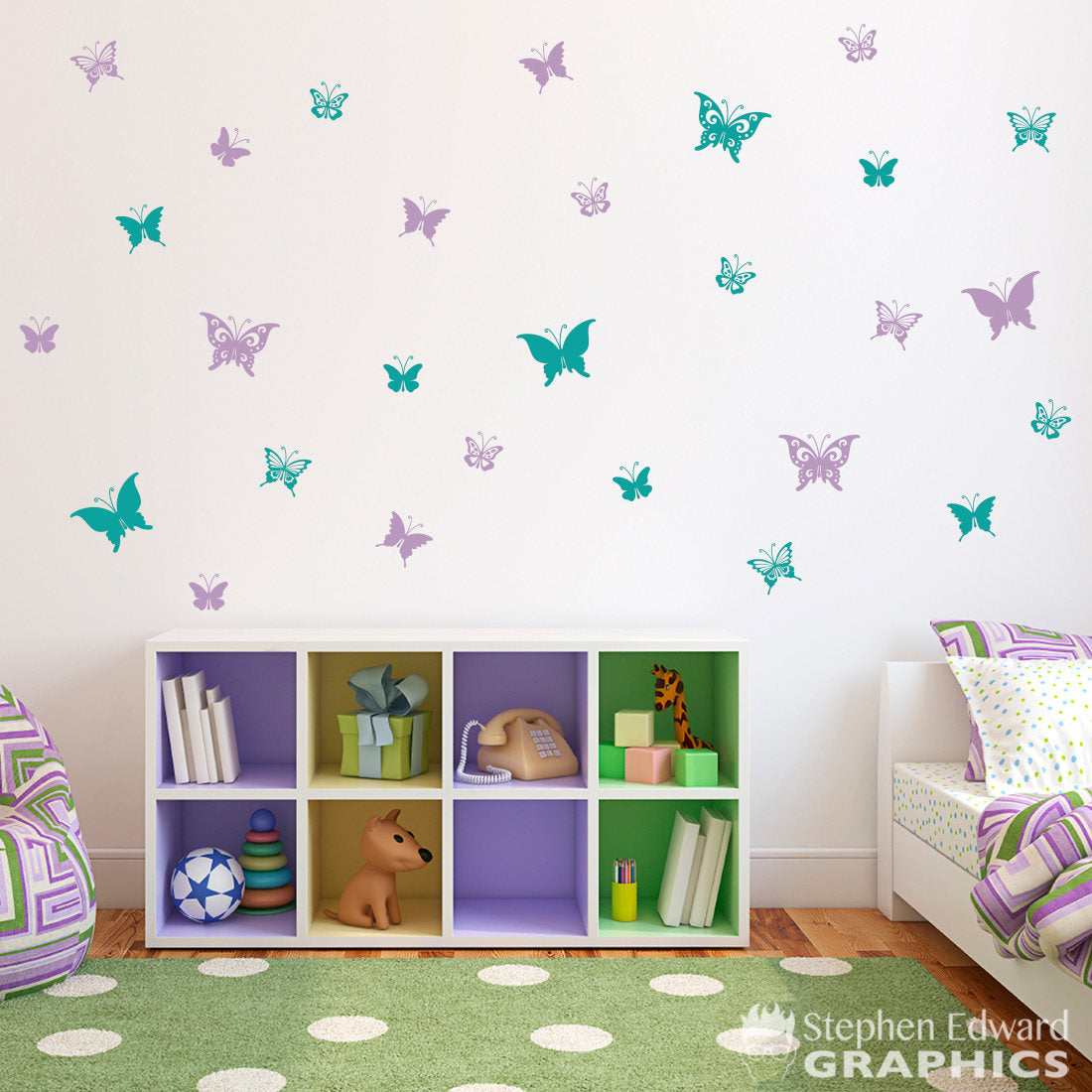 Butterfly Wall Decals   Set Of 28 Butterflies   Girl Bedroom Decal   G    Stephen Edward Graphics