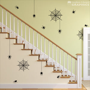 Spider and Spiderweb Halloween Wall Decal Set