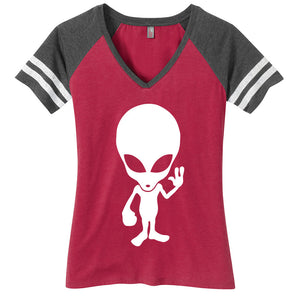 Alien Ladies Game Day Style Ring Spun with Stripes T-Shirt