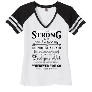 Be Strong Ladies Game Day Style Ring Spun with Stripes T-Shirt