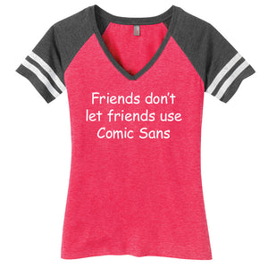 Comic Sans Ladies Game Day Style Ring Spun with Stripes T-Shirt