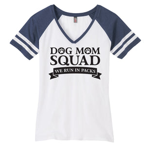Dog Mom Ladies Game Day Style Ring Spun with Stripes T-Shirt