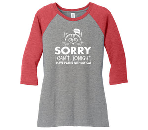 I Have Plans With My Cat Ladies Perfect Tri 3/4-Sleeve Raglan TShirt