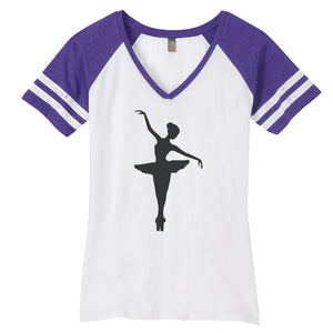 Ballerina Ladies Game Day Style Ring Spun with Stripes T-Shirt