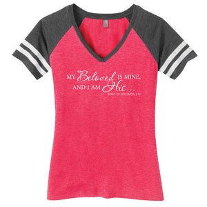 Beloved Ladies Game Day Style Ring Spun with Stripes T-Shirt