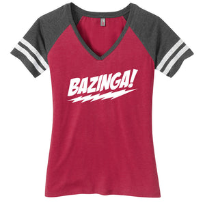 Bazinga Ladies Game Day Style Ring Spun with Stripes T-Shirt