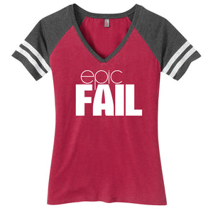Epic Fail Ladies Game Day Style Ring Spun with Stripes T-Shirt