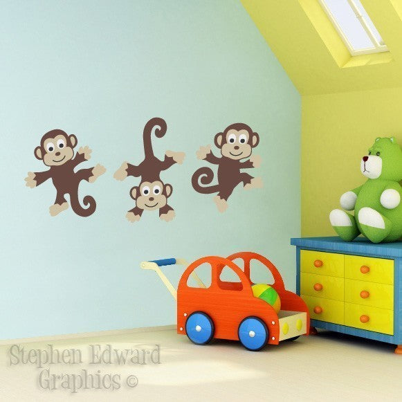 Children Wall Decals - Bunch of Monkeys Vinyl Wall Art - Kids Wall ...