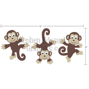 Dimensions of Bunch of Monkeys Children Wall Decal Set