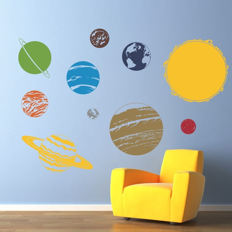 Solar System With Sun Vinyl Wall Decal   Children Wall Decals   Solar  System Wall Art Part 60