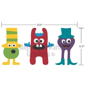 Dimensions of Monster Kids Bedroom Wall Decal Group