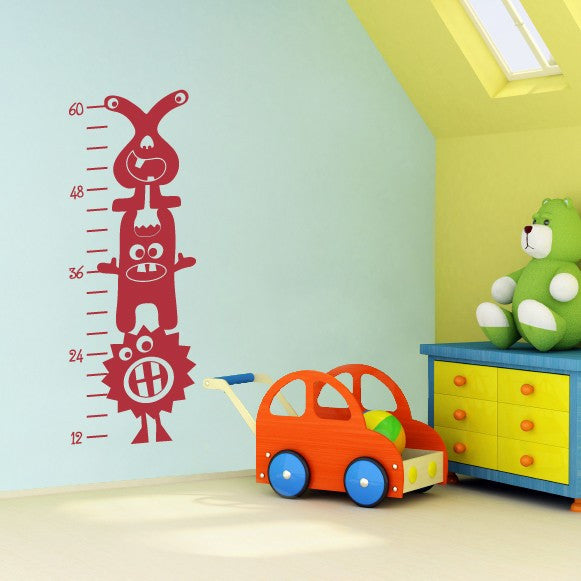 Monster Growth Chart Wall Decal (3 Monsters)