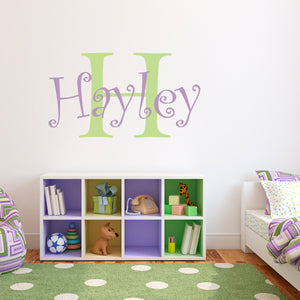 Girls Name with Initial Large Personalized Wall Decal