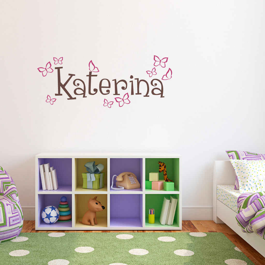 Personalized Girls Name with Butterflies Wall Decal