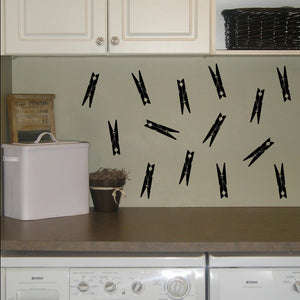 Set of 14 Clothespins Laundry Wall Decals