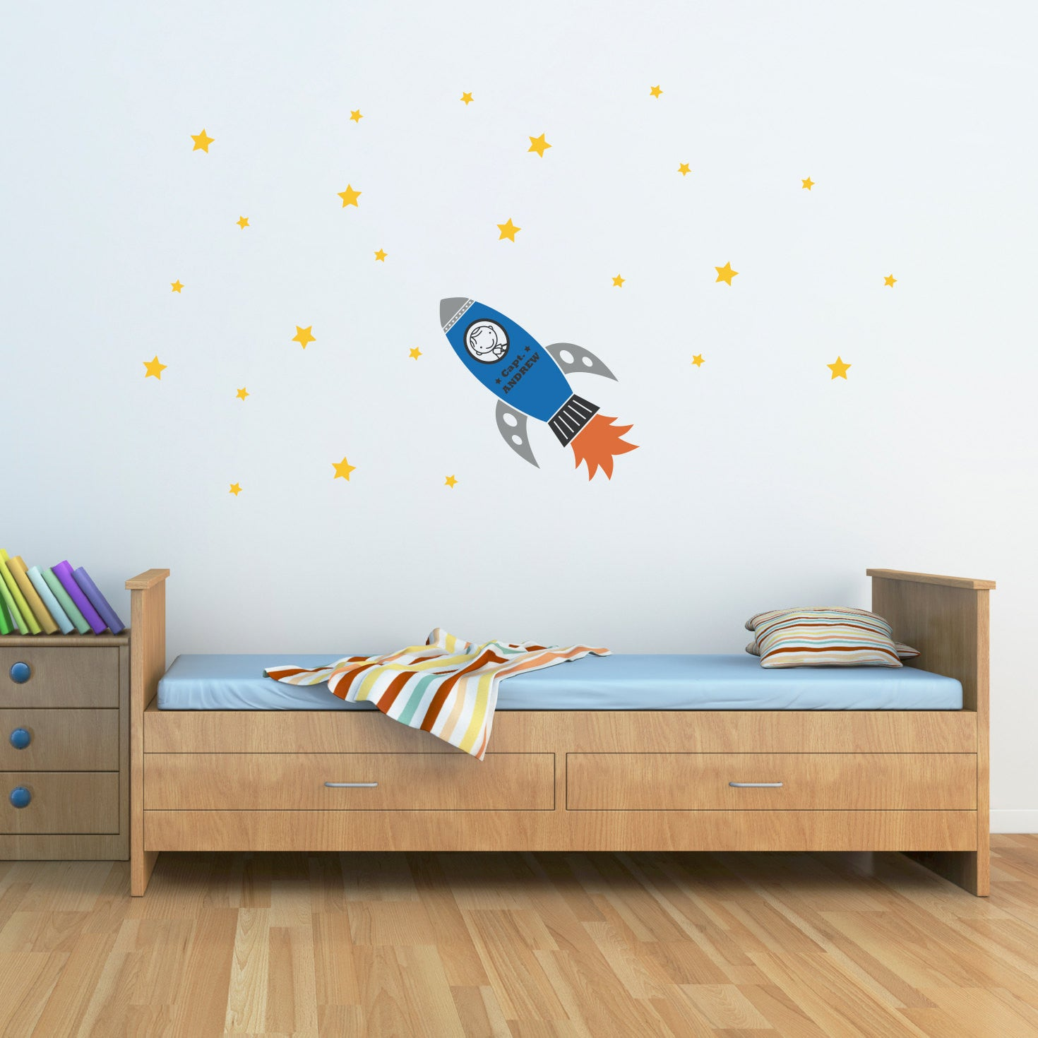 Rocket Wall Decal With Boys Name And Stars Personalized Vinyl - Personalized vinyl wall art decals