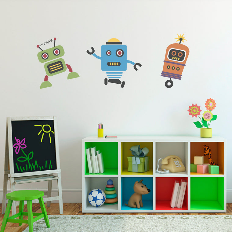 Robot Wall Art - Set of 3 - Vinyl Wall Decal - Children Wall Decals