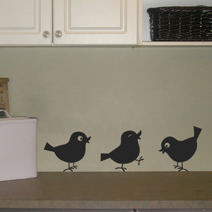 Set of 3 Cutie Birds Vinyl Wall Decal